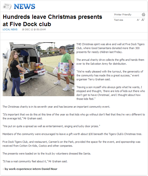 Hundreds leave Christmas presents at Five Dock club